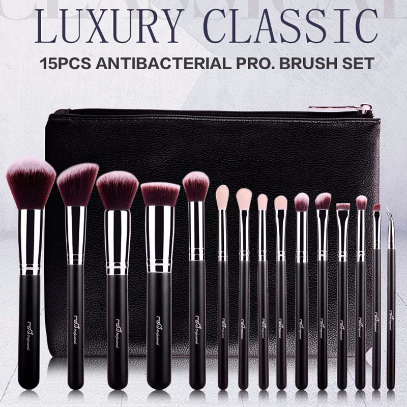 15pcs Goat Hair Makeup Brushes professional Kit Makeup Brush Set Cosmetic Brush Sets Kits Free Shipping 32 pcs kit makeup brushes professional set cosmetic professional makeup brush set goat hair real makeup brushes brand techniques
