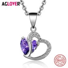 AGLOVER 925 Silver Women Necklace Fashion Charm Heart Pendant Necklace 100% Sterling Silver AAAAA Zircon Women Fine Jewelry