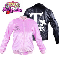 50s Grease Jacket Family Party Costume Pleuche Pink Ladies Jacket Danny T Birds Jacket New Years