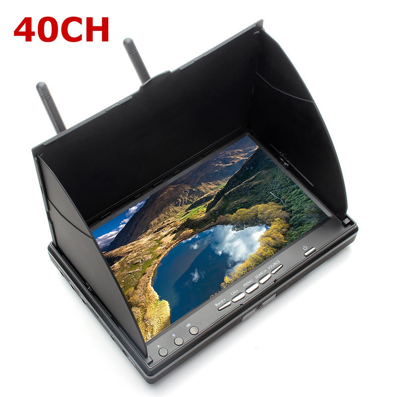 Hot Sale Eachine LCD5802S 5802 40CH Raceband 5.8G 7 Inch Diversity Receiver Monitor with Build-in Battery For FPV Multicopter original aomway rx006 dvr video recorder 5 8g 48ch diversity raceband a v receiver for rc multicopter antenna transmitter part