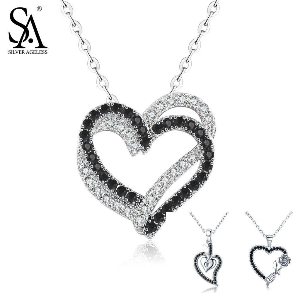 SILVER AGELESS Real 925 Sterling Silver Double/Three Heart Black White Zircon Pendant Necklace Rose Heart Chain Link Chokers double ring letter link chain pendant necklace