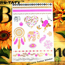 Nu-TATY 25 Style Temporary Tattoo Body Art, Pink Gold Elephant Designs, Flash Tattoo Sticker Keep 3-5 Days Waterproof 21x15cm