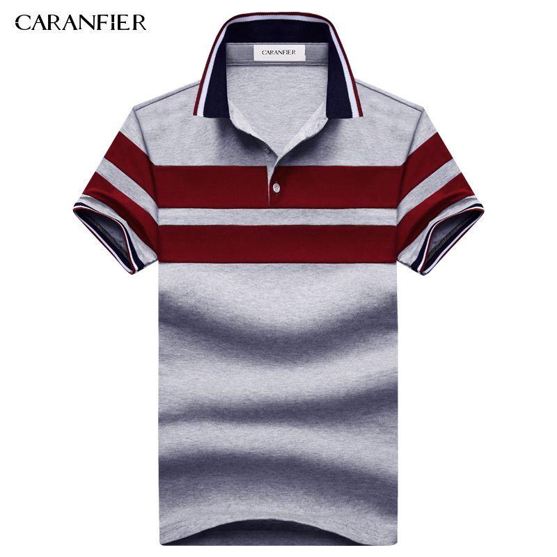 CARANFIER 2017 NEW Summer men Striped T short Shirts 95% cotton Stripe Brand Clothing Man's Wear Short Sleeve Slim Clothes
