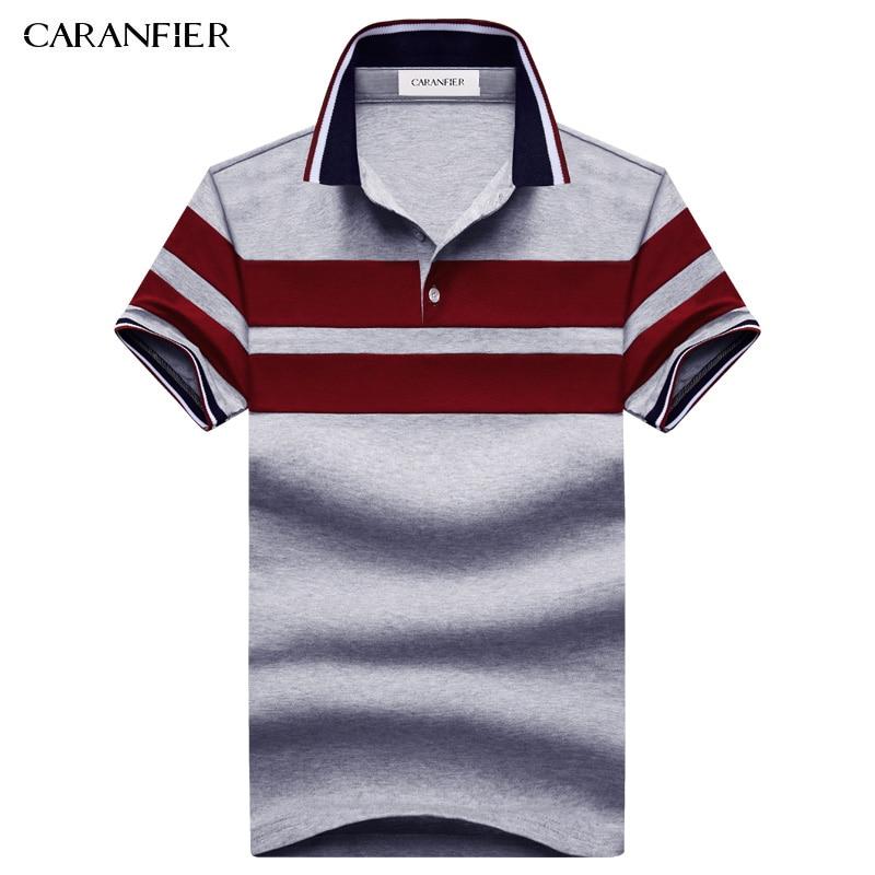 CARANFIER 2017 NEW Summer men Striped T short Shirts 95% cotton Stripe Brand Clothing Man's Wear Short Sleeve Slim Clothes