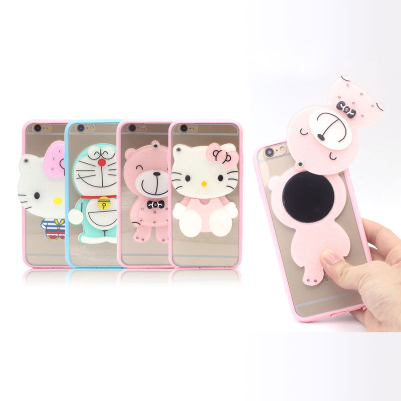 Luxury Mirror Soft Silicone Phone Case for Apple iPhone 7 Plus Case New Cartoon Cute Bear Hello Kitty Doraemon Back Cover Shell