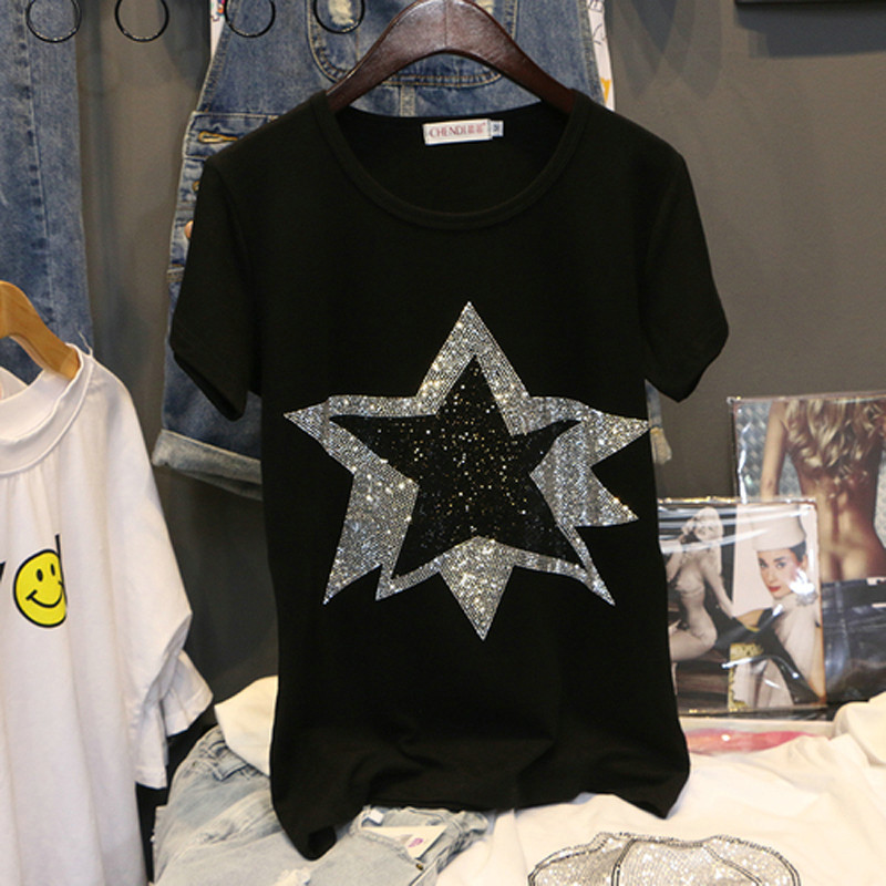 Women Diamond Stars Design T Shirt Cotton Ladies Black 2019 Fashion Star Hot Drill Rhinestone Top Tees T-shirt