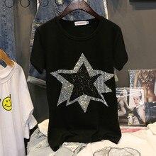 bdc939f6a84 Las estrellas de diamante diseño T camisa señoras de algodón negro 2019 de  moda de diseño