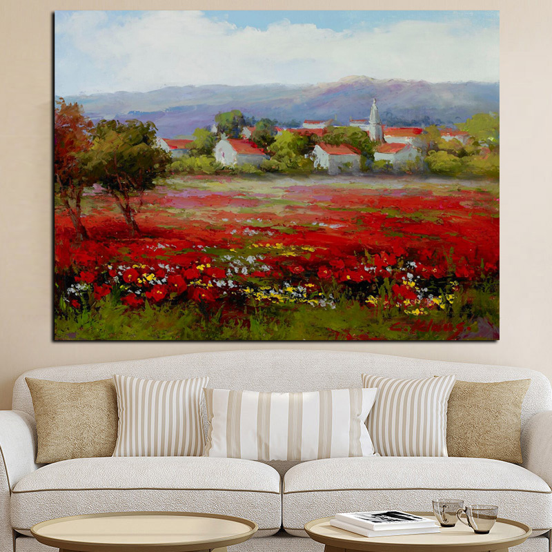 Print Abstract Wild Red Flower Poppies Landscape Oil Painting on Canvas Modern Pastoral Poster Art Wall Picture for Living Room