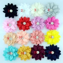 Yundfly 20pcs/lot 3.6 Lotus Chiffon Flowers With Button for Children Baby Headband Clips Diy Kids Girls Women Hair Accessories