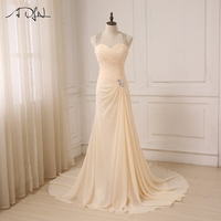 ADLN 2017 Chiffon Beach Wedding Dresses Beaded Halter Sleeveless Vestido De Noiva Backless Crystals Mermaid Bride