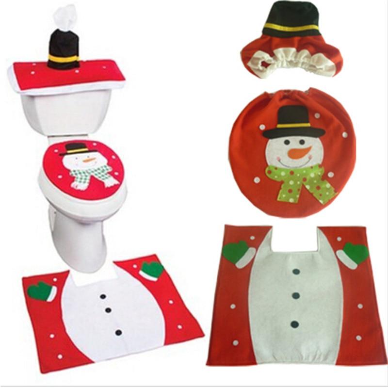 3PCS/ Set Christmas Snowman Bathroom Toilet Seats Cover Home Wedding  Decoration Ornament Halloween Accessories MA892271