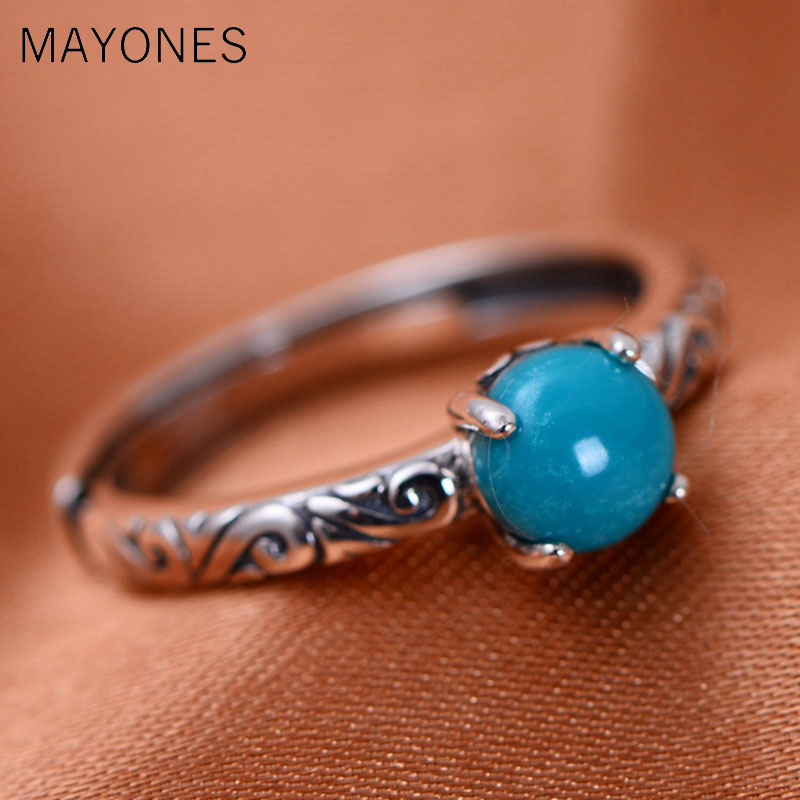 100% Real 925 Sterling Silver Rings For Women Claws Setting Turquoises Stone Opening Ring Free Shipping