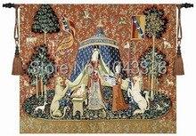 Unicornio serie noblelady vestido de las mujeres de gran tamaño 165*139 cm pared cuelgan tapices de tela jacauard decorativo medieval PT-76