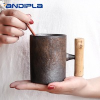 300ml Vintage Ceramic Coarse Pottery Mug Rust Glaze with Wooden Handgrip Tea Milk Coffee Cup Wooden Spoon Water Office Drinkware