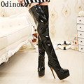 High quality Extreme high heel 15cm Heels overknee boots shiny patent thigh high boots sex crotch boots metal heels