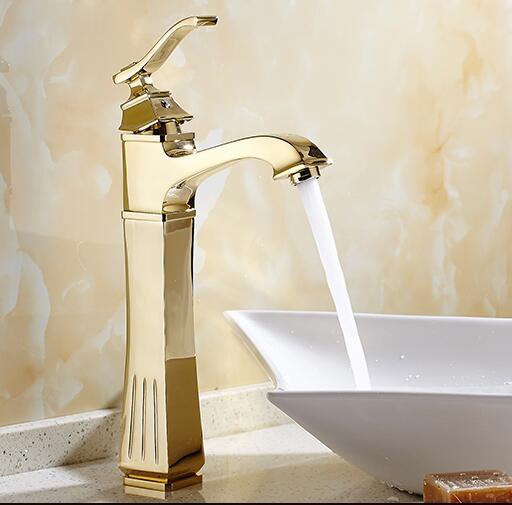 New Arrivals Antique Brass Bacia Cor de Ouro Torneira Do Banheiro de Altura torneira da Bacia Do Banheiro Misturador Pia Da Torneira com água Quente e Fria torneira