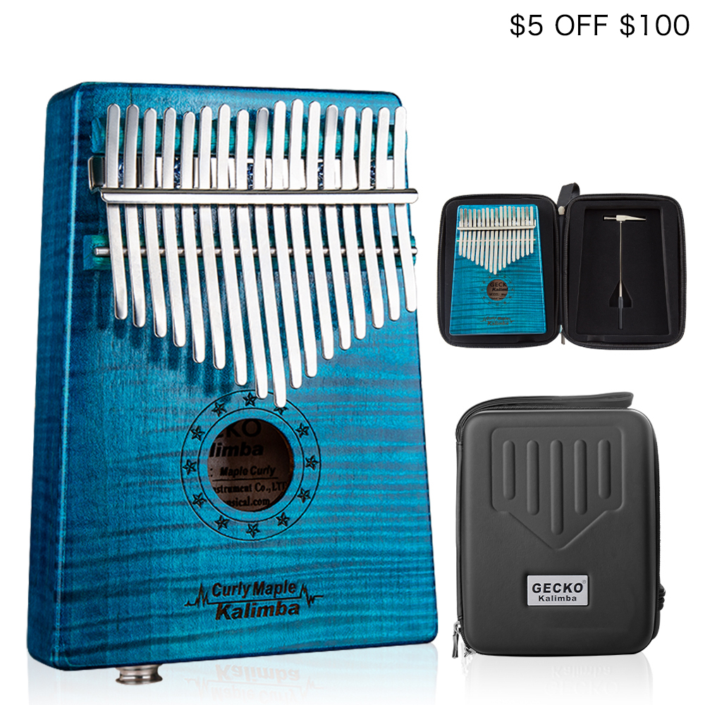GECKO Kalimba 17 Key CURLY MAPLE Thumb Piano builts in EVA high performance protective box tuning