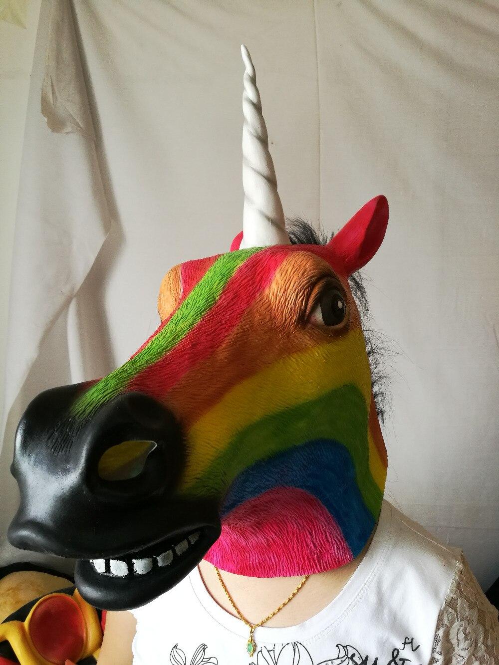 Einhorn Maske Masken Pferde Latex maske haube tier multicolor - WLOG.ME