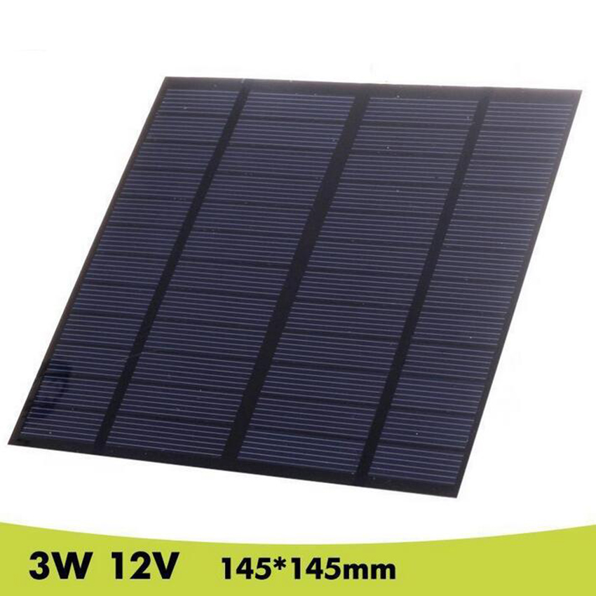 Zerosky 3W 12V Solar Panel Flexible Solar Cells DIY Polysilicon Plate 145x145mm Painel Solars Charger
