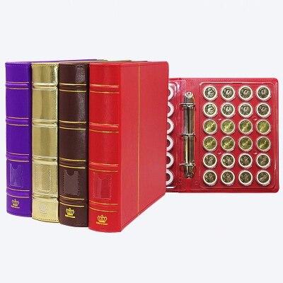 144 monedas colección libro 27,5*25 cm 6 hojas caja redonda libro de protección soporte de monedas álbum billete moneda álbum para monedas