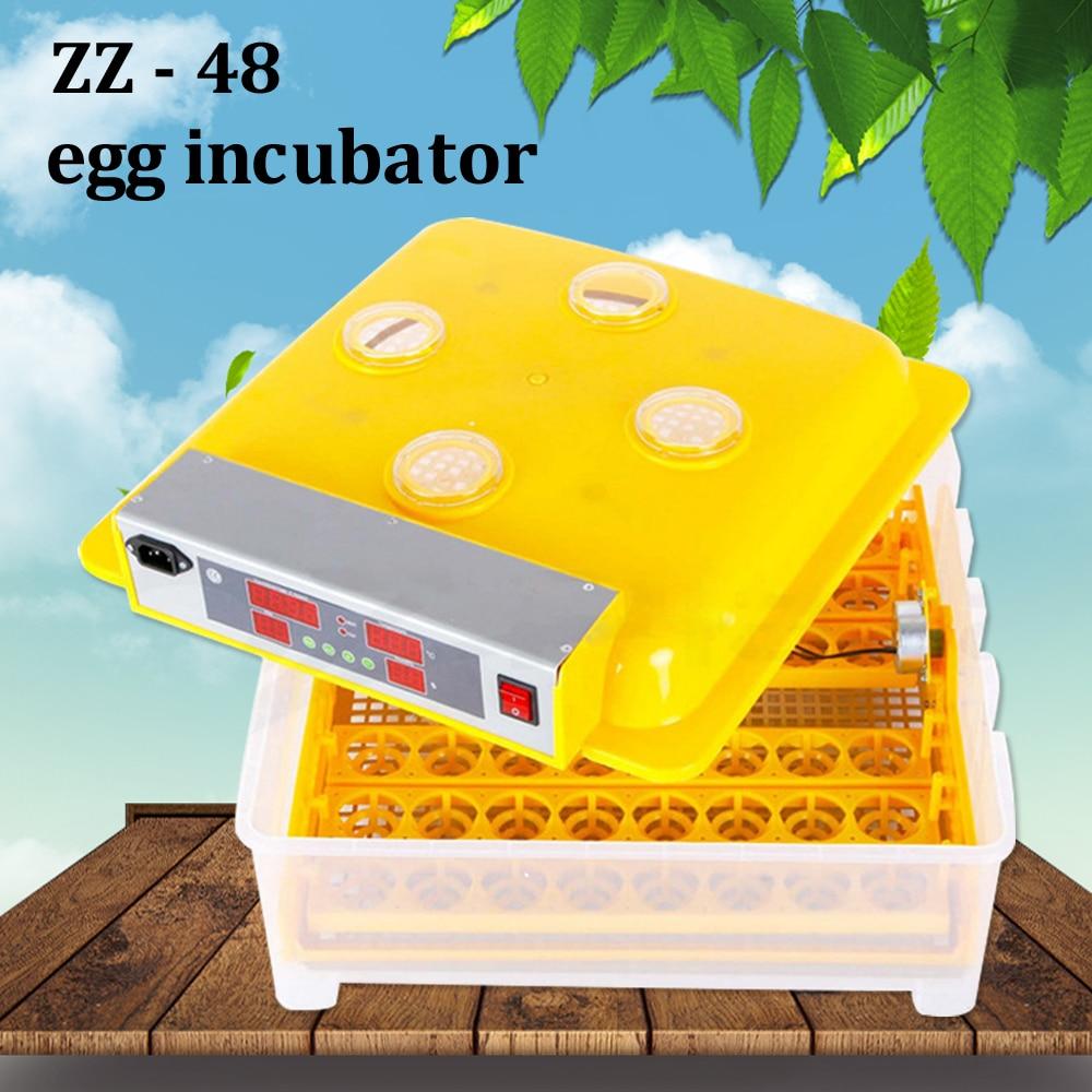 Top flambant neuf 48 incubator à œufs Intelligent led contrôle de la température Automatique Éclosoir Pour Perroquet de Caille Oeuf De Poule À Couver Couveuse