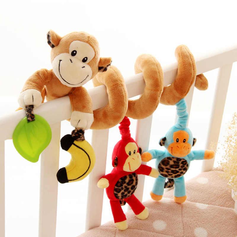Bayi Mainan untuk Anak 0-12 Bulan Mewah Mainan Biaya Tempat Spiral Gantung Ponsel Bayi Bayi Kereta Dorong Tempat Tidur Hewan Hadiah happy Monkey