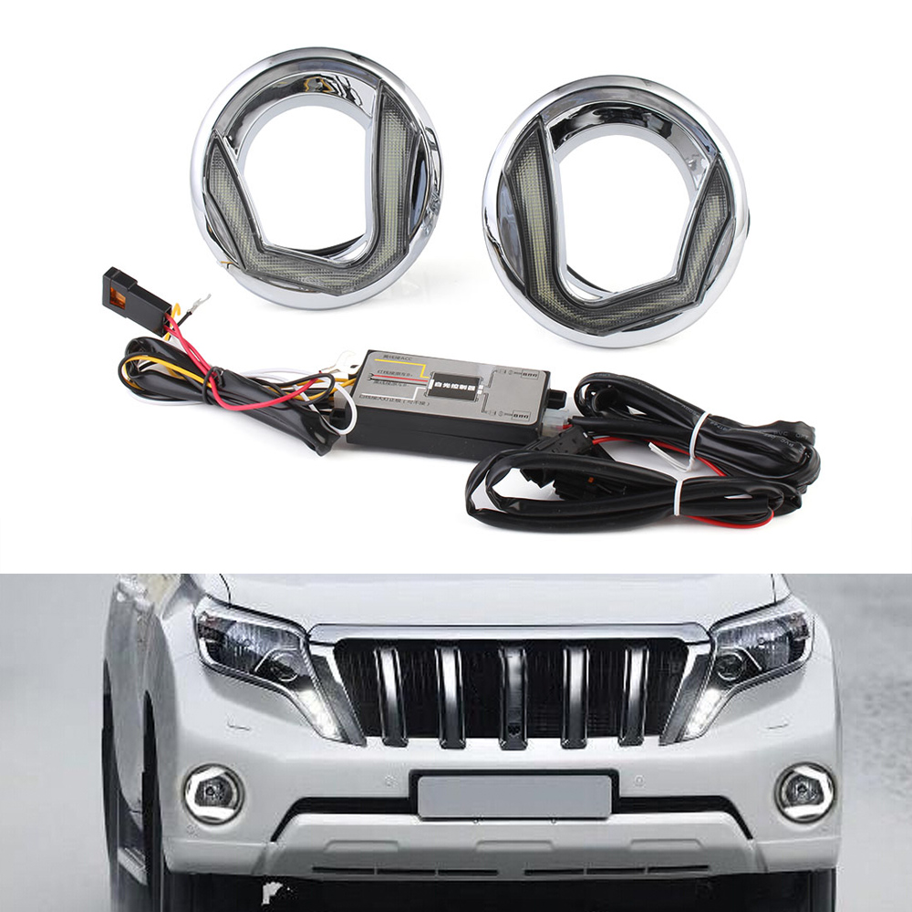 Super White Car LED Daylight DRL Daytime Running Light Driving Lamp For Toyota Prado 2015-2017 Free Shipping D35 1 pair metal shell eagle eye hawkeye 6 led car white drl daytime running light driving fog daylight day safety lamp waterproof