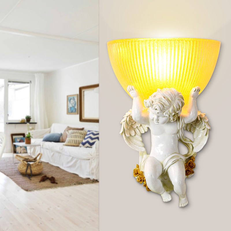 European Wall Lamps angel child creative bedroom bedside bed warm LED wall lamp living room corrido background LU71123 -YM european style square grain wall lamps simple creative living room bedroom led bedside lamp jane european retro wall lamp z10
