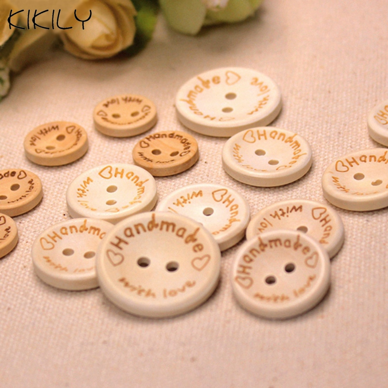 Wood Holes Wooden DIY Buttons 20//25mm Craft Pcs Scrapbooking 100 Round Sewing 2