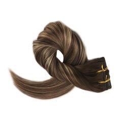 Полный блеск натуральные волосы с неповрежденной кутикулой клип в коричневые корни расширения выметания 4 цвета потертостями до 24 и 4 100