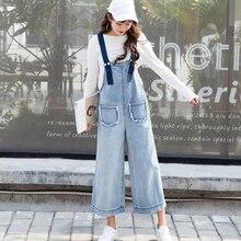 Fashion Women Denim Jumpsuit Loose Jeans Rompers Casual Wide Leg Oversized Jean Overalls Combinaison Femme
