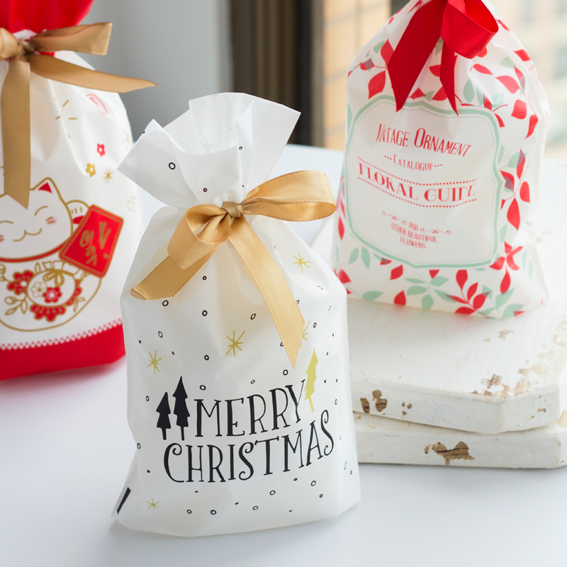 10pcs Golden Christmas Tree Gift Bags Biscuit Plastic Cake Drawstring Bag For Xmas Party Home Decoration Bolsas Regalo Navidad