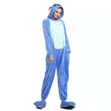 Flannel Stitch cartoon animal one-piece pajamas men and women winter coral fleece Cartoon onesie zipper adult
