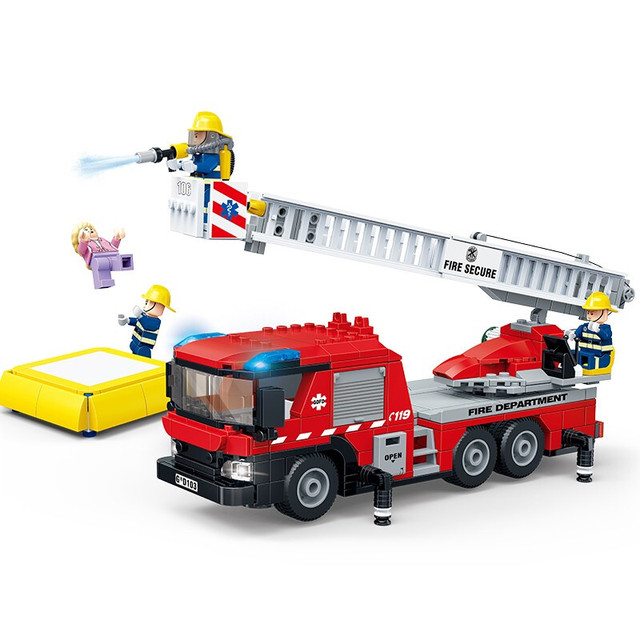 City Series Fire Ladder Truck firefighting Building Blocks Classic Sets Bricks Model Kids Toys For Children Compatible