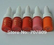 O envio gratuito de 5 lábios cor rosa dourada permanente maquiagem tinta para sobrancelhas lábios tatuagem rosa dourada cores