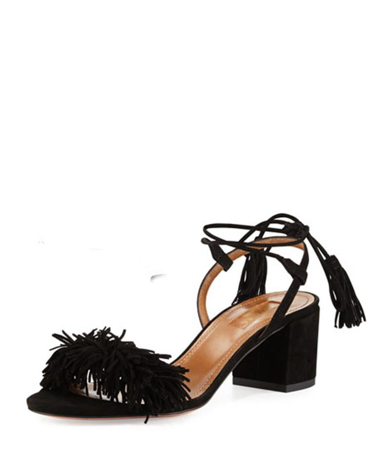 0f28d7d6569 Latest Fashion Women Sandals Sheepskin Tassel Lady Office Mid Heel Sandals  Women Casual Lace Up Square Heels Shoes Slide-in Women s Sandals from Shoes  on ...