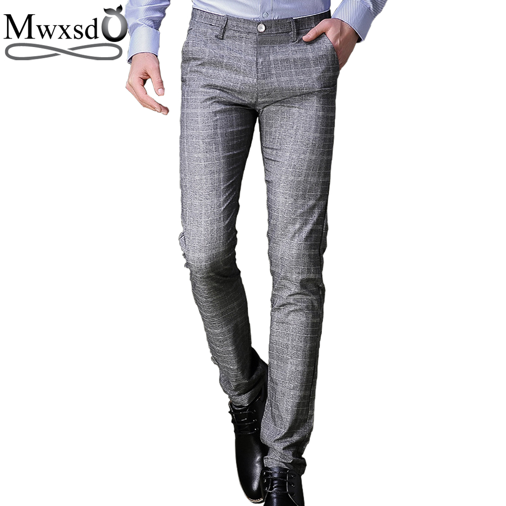 Mwxsd brand Men plaid dress pants Male blazer pants wedding long pants Trousers high quality gray business pants