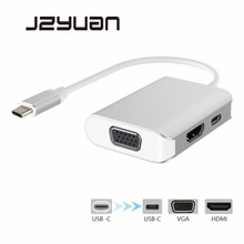 JZYuan USB C Type C 3.1 HUB HDMI 4K 30Hz VGA 1080P 60Hz Splitter Adapter With Type C PD Charging For Laptop Macbook  USB-C HUB minix neo c mini type c hub multiport adapter with hdmi output up to 4k usb 3 0 usb c for charging compatible with new macbook