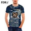 Forudesigns moda hombres camiseta de manga corta 3d t-shirt de verano de alta calidad marca clothing tops funny cat denim jeans hombres tee camisa