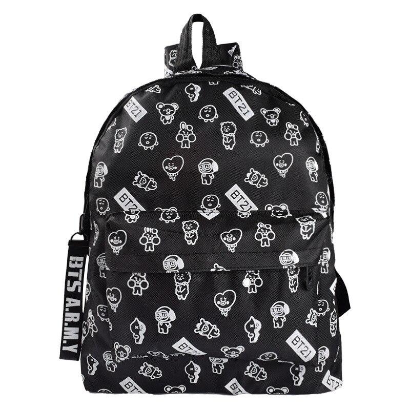 Bts Backpack For Women Oxford Unisex Softback Travel Backpacks Bt21 Cartoon Printing Black Back Pack For Teenager Girls