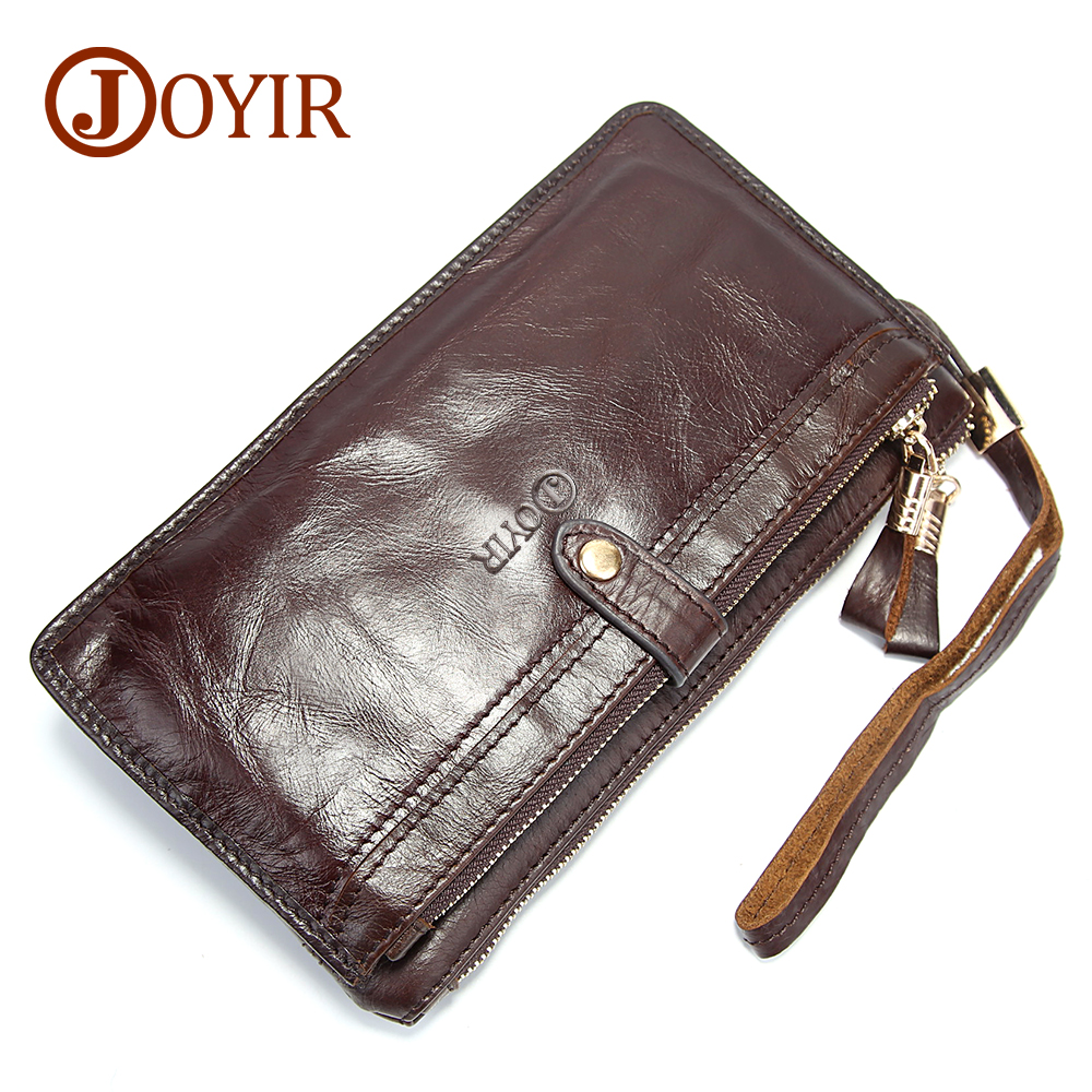 JOYIR Genuine Leather Men Wallets Double Zipper Design Business Male Wallet Fashion Purse Card Holder Long