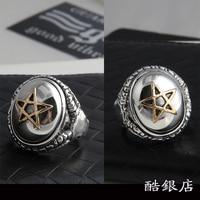 Мужское кольцо с указательным пальцем, тайские серебряные кольца в стиле ретро, индивидуальная мода, пятиконечная звезда, кольцо из стерлин