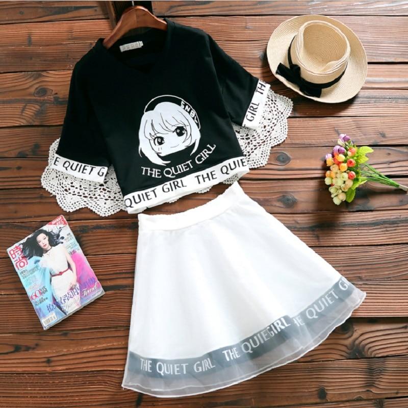 Japanese Mori College Girl Two Pieces Kawaii Crop & High Waist Mini Skirt