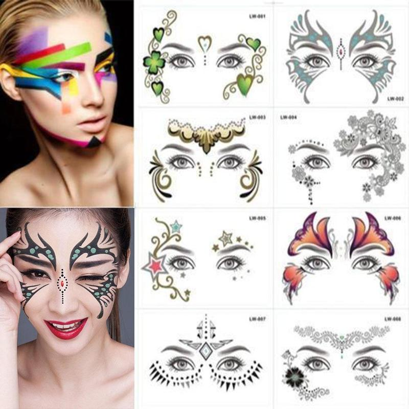 Fake Temporary Tattoos Waterproof Sticker Face Mask Tattoo for Women Long Lasting Easy to Remove Party Body Face Make Up