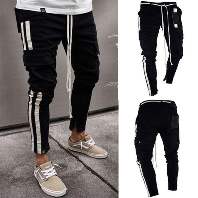 New Style Men Slim fit Fashion Knee Jeans Streetwear hip hop personality Ankle zipper Skinny Denim Clothing