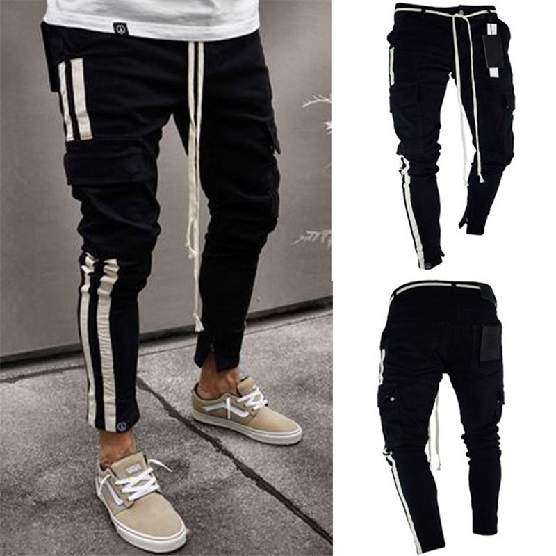 New Style Men Slim fit Fashion Knee   Jeans   Streetwear hip hop personality Ankle zipper Skinny Denim Clothing