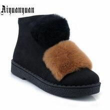 Aiyuanyuan Теплые Зимние ботильоны Большие размеры 40, 41, 42, 43 размеры 44, 45 из искусственного меха дизайн Туфли на низком каблуке