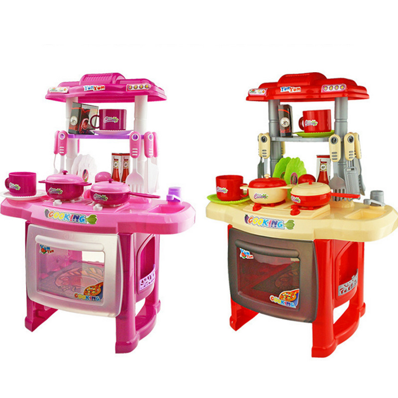 New Kids Kitchen Set Children Kitchen Toys Large Kitchen Cooking Simulation Model Colourful Play
