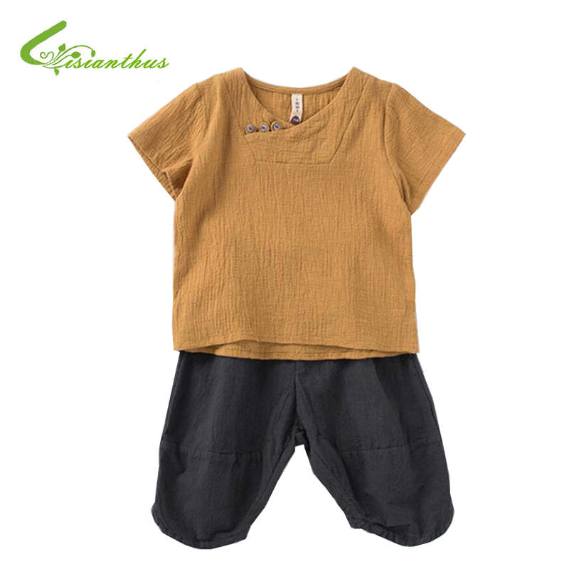 Cotton Linen Kids Boys Clothes Children Clothing Sets Summer Baby Boy Clothes Children's Sets O-Neck Tops + Shorts 2pcs 2pcs children outfit clothes kids baby girl off shoulder cotton ruffled sleeve tops striped t shirt blue denim jeans sunsuit set