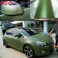 1.52*15m/Roll Premium quality Matt army green car vinyl sticker Matte army green wrap vinyl film with air free bubbles free ship